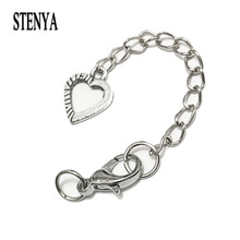 STENYA Extended Extension Chains Lobster Swivel Hook Jump Rings Cord Bracelet Findings Flower Filigree Pendants Jewelry Charms