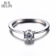HELON Solid 10K White Gold Solitaire 5mm Round H-G 0.5ct Moissanites Engagement Ring Party Women's Trendy Fine Jewelry Ring(China)