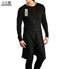 Hiphop Shirt Men Black White Men Long Sleeve T Shirt Hip Hop Rock Fashion Gothic Stage Plain Extra Long Tee Shirt Homme