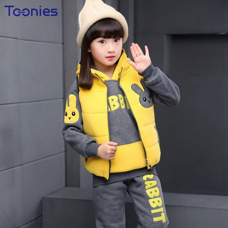 Girls Suit 2018 Winter Cashmere Girl Pant Suits Thickened Cotton Children Sportswear High Quality Hooded Clothing Sets for Kids<br>