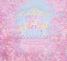 Vinyl Photography Backdrop Pink Flower Carousel Computer Printed Children Background for Photo Studio ZH-239