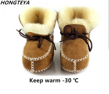New sheepskin Genuine Leather Wool fur baby boy Winter boots infant girls warm Moccasins shoes with plush lace up booties