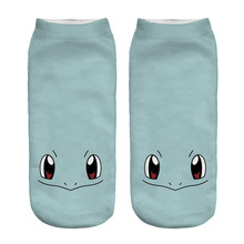 white Design Creative 3D Squirtle Printing Socks Cotton Polyester Casual Sock Unisex Low Ankle Sock