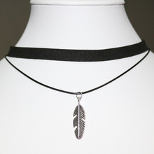 N900 Gothic Chokers Necklaces Women Feather Pendant Colier Black Velvet Double Layer Collares Fashion Jewelry Vintage Bijoux(China)