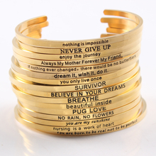 2017 Gold Color Bracelet Bangle Stainless Steel Bar Engraved Positive Inspirational Quote Cuff Mantra Bracelet Bangle For Women