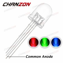 50pcs 10mm Round RGB Common Anode Clear Lens LED Diode Tricolor (Red Green Blue) Transparent 10 mm Light Emitting Diode LED Lamp