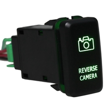 DC12-24V Black Push Switch Green Reverse Camera Pattern with Connector Wire For Toyota(China)