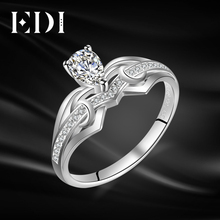 EDI Classic 0.4ct Pear Shaped Moissanites Diamond 14K 585 White Gold Wedding Ring For Women Fine Jewelry(China)
