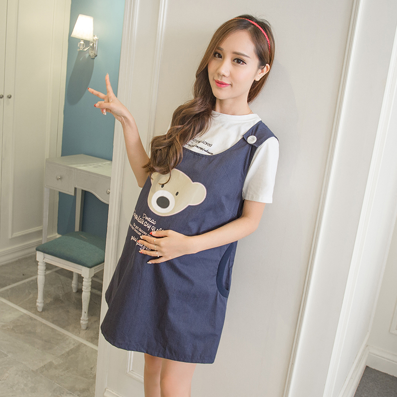 Korean version of the new anti-radiation clothing anti-radiation apron cartoon bear printing maternity dress<br>
