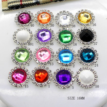 NEW 2016 HOT 10pcs/LOT Acrylic 16MM Rhinestone Buttons DIY Diamond Button Invitation gail hair bowknot Flower Accessory(China)