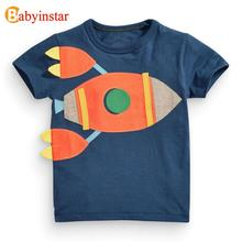 Babyinstar 2017 Summer Girls Boys T-Shirt  European American Cartoon Rocket Pattern Boy T-Shirt Kids Clothes T Shirt