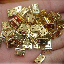 20 PCS 10*8MM Mini Cabinet Drawer Butt Hinge Copper Gold Small Hinge 4 Small Hole Copper Hinge With Screws