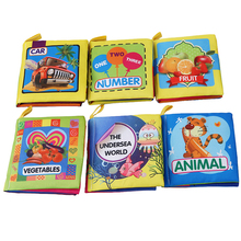Baby Toys 0-12 Months Intelligence Development Cloth Book Soft Rattles Unfolding Activity Books Cute Animals Kids Toys(China)