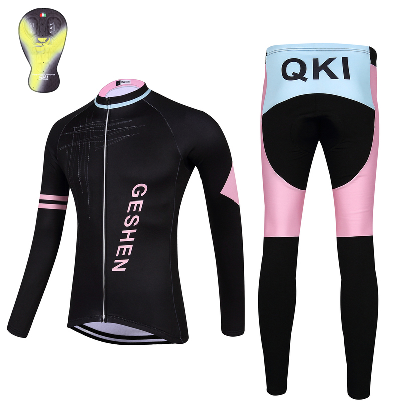 2017 QKI GESHEN Women Cycling clothing Thermal fleece Long Sleeves Cycling Jersey and Cycling Long Pants a Set Maillot+Culote<br><br>Aliexpress