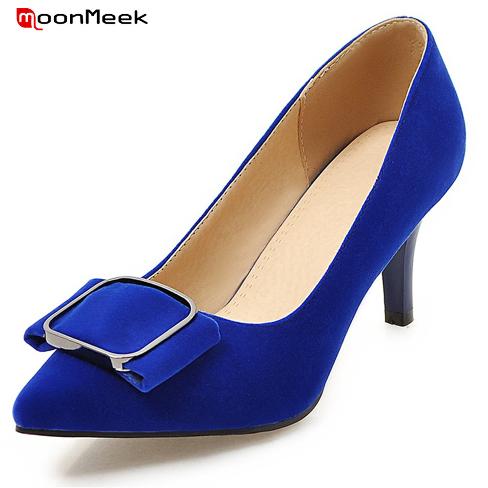 MoonMeek 2018 new arrival spring autumn sexy ladies shoes slip on thin high heels pointed toe mature wedding shoes women pumps<br>