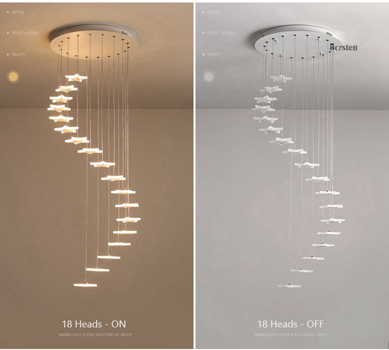 Modern Duplex Staircase LED Pendant Lights Personality 18 Stars Hanging Lamps Minimalist Rotaion Staircase Lamp Living Room Lighting (10)