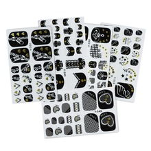 5pcs Nails Tip Decals Beauty Full Cover Wraps Manicure Lace Toe Nail Art Stickers Black Theme Glitter Self Adhesive Nail Sticker