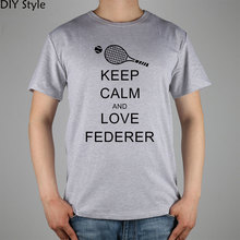KEEP CALM AND LOVE FEDERER Roger Federer T-shirt cotton Lycra top new arrival Fashion Brand t shirt for men