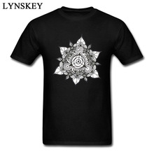 2017 Classic Mandala Lotus 2XL White T-Shirts For Men High Quality 100% Cotton 3D Printing Indian Buddhism Meditation T Shirt(China)