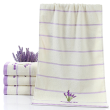 Limit buy Pure Cotton Thicken Stripe Face Towels Lavender Pattern Absorbent Face Towels(China)