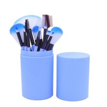 Professional 12 Pcs Eye Makeup Brush Set Eyeshadow Eyeliner Blending Pencil Makeup Brushes Rose Purple Handle Plastic Pot