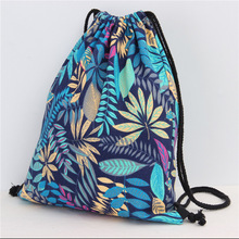 Fashion Blue Leaves Cotton&linen Cinch Sack Backpack Storage Bags for Beach Travel Shoe Laundry Makeup Man Women Drawstring Bag