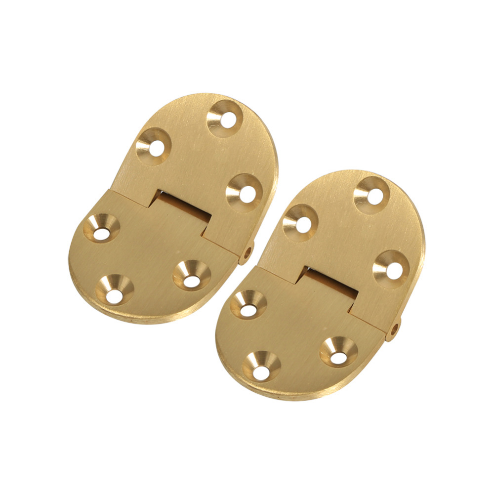 2pcs/set Brass Cabinet Folding Hinges Round Edge With Screws Jewelry Boxes Small Hinge Furniture Fittings For Cabinets(China)
