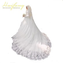 Arabic Muslim Beautiful Long Sleeve Hijab Wedding Dress with Veil Lace Applique Vestido De Noiva(China)