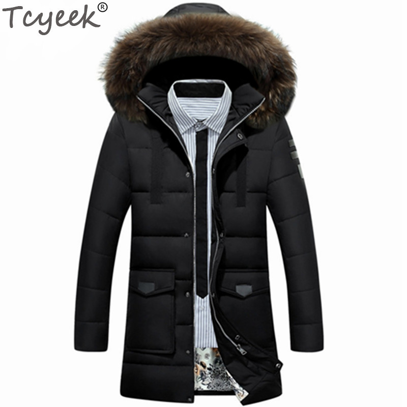 Tcyeek Fashion Winter Men Jacket White Duck Down Jackets Coats Warm Windproof Parka Black Red Jaquetas Masculina Inverno CJ275