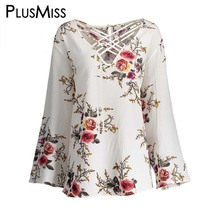 Buy Plus Size 5XL Sexy Floral Print Hollow Tops Women Long Sleeve Chiffon Lace Blouse Shirt Autumn 2017 Elegant Blusas for $12.98 in AliExpress store