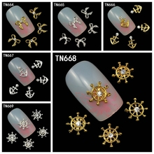 10Pcs/Pack(1pack=1style) Silver Golden Anchors Rudder Bowknot 3D Nail Art Decorations Glitters Rhinestone For Nails Tools
