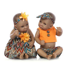 NPKCOLLECTION 11 Inch Black Skin Ethnic Doll Realistic Indian Reborn Babies Full Silicone Boby Girl and Boy Model Kits Toy Dolls