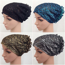 Fashion Women Flower Muslim Inner Hijab Caps Islamic Underscarf Hats Arab Headwear