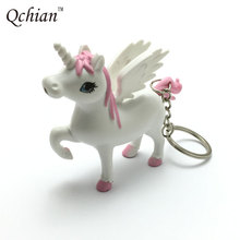 Novel Unicorn Keychain for Men Keyring Holder Ainme Horse Key Chains Led Light Sound Cartoon Design Gift for Kids Women(China)