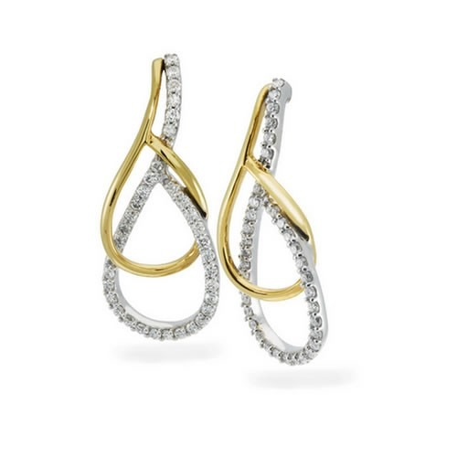 10K Yellow Gold and Sterling Silver Diamond Fashion Earrings 1/2 ct