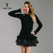Missord 2017 Sexy O-neck  long sleeve mesh Ruffles dress sweater FT6869