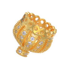 DIY Jewelry Making Charm Zircon Crystal Crown Beads Wholesale Copper Micro Pave Czech Tassel Beads For Bracelets & Necklaces