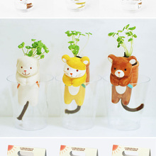 Hot Sell Cute Creative Cartoon Animal Tail Sucking Sprouting Plant Desktop Potted Flower Green Plant Ornament