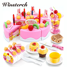 75pcs Kitchen Toys Pretend Play Cutting Birthday Cake Food Eat Toys Early Educational Baby Play Games Gifts Brinquedos ZS094(China)