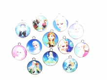 100pcs Cartoon Elsa Anna Princess circular Enamel Metal Charm Pendants DIY Jewelry Making Mobile Phone Accessories z-0088