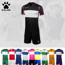 KELME 2017 Men Team Soccer Sets Survetement Training Short sleeves Mixed Colors Football Jerseys Male Custom Tracksuit K15Z235(China)