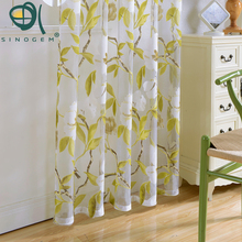 Sinogem News 2017 Flowers Curtains Tulle Window Curtain for Living Room Bedroom Kitchen Curtains Printed Sheer Voile Curtains(China)