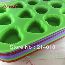 Cake mold 12 hole  Silicone Paper cups Cake Manufacture Mold cupcakes (si081)