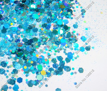 50gram x Laser Light Blue Color Glitter Mixed Hexagon Powder Shape for DIY Nail Art  Decorations and Glitter Crafts