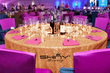 Wholesale 20PCS-132in Round Sparkly Blush Rose Gold Sequin TableCloth Sequin Table Overlay For Decorations