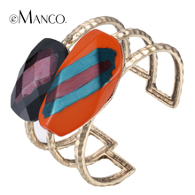 eManco alloy wide bangle geometric enamel cuff bangles metal opening gold-color hand painted resin bangle bracelet pulseiras(China)