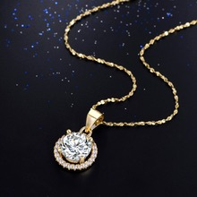 2017 New Genuine 925 Sterling Silver pendant Luxury Brand Necklace with 2.0Ct AAAA Level Zircon Necklaces Gift Jewelry for women