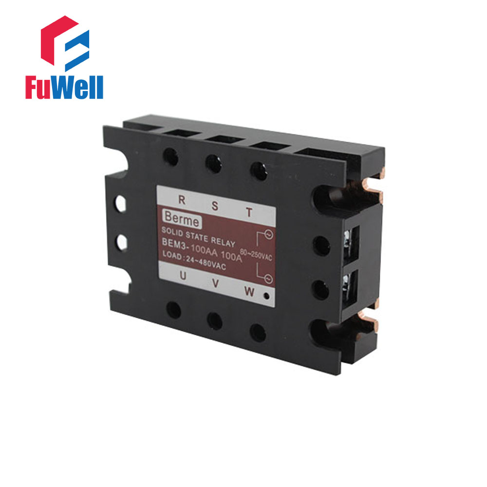 3-phase Solid State Relay SSR AC-AC 100AA Input 80-250V AC Load 24-480V AC<br>