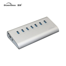 external 12v 2a ac powered usb hub aluminum active usb 3.0 hub express card reader combo free shipping H701U3(China)