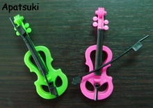 2pcs/lot Kids Toy Play House Plastic Toy Violin For Barbie Doll Dreamhouse For Monster High 1/6 BJD Dolls Accesssories Girl Gift
